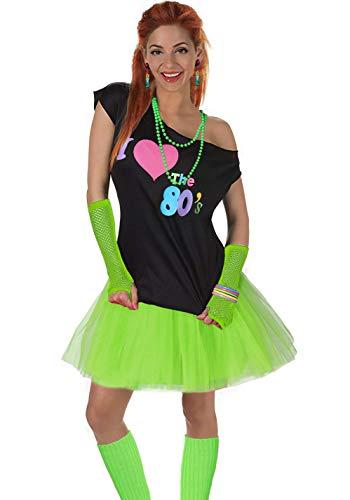 Fun Daisy Clothing Damen I Love The 80er Jahre T-Shirt 80er Jahre Outfit Zubehör, Grün - UK 16-18 / L-XL