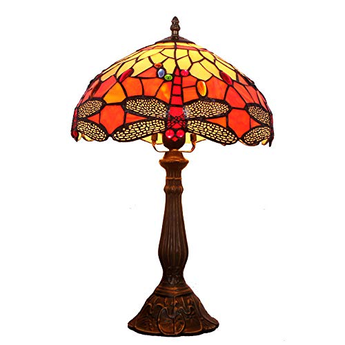 W&HH Stained Glass Lamp 1 Light 12 Inch Tall Tiffany Style Dragonfly Table Lamps Beside Desk End Table Lamp Antique Base for Living Room Coffee Table Bedroom