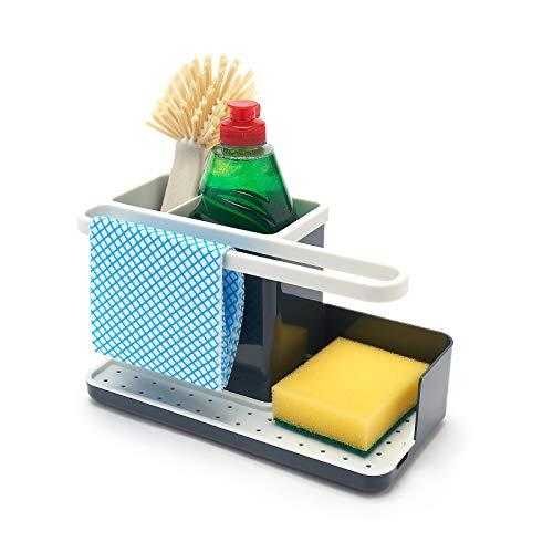 simplywire - Organizador para Fregadero de Cocina - Bandeja recogegotas extraíble - Antideslizante - Gris y Blanco