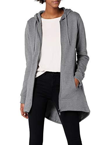 Urban Classics Damen Sweatjacke Ladies Sweat Parka, lange Kapuzenjacke im Stil eines Zip Hoodie - Farbe grau, Größe S