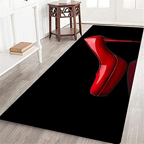 PATINISA Alfombrillas Interior Moquetas Larga,Zapatos de tacón Rojos de Mujer. Diseño Negro,Alfombra de Pasillo de Pelo Corto Suave, Alfombra de Dormitorio, Salón y Cocina 60X180 CM