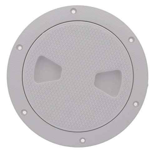 TCH Hardware 6' White Round Deck Plate Inspection Hatch - Screw Off Water Tight Lid