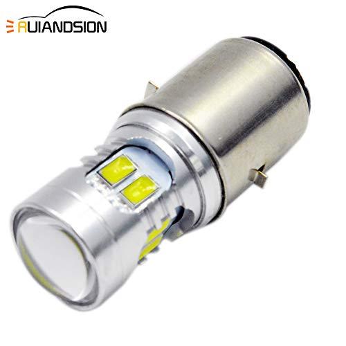 Ruiandsion 2pcs Fit both 6V or 12V BA20D LED Motorcycle Headlight Bulb Super Bright 5730 12SMD Chipset LED Bulb High Low Beam,6000K White