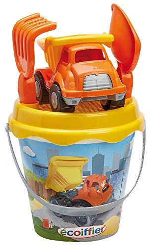 Jouets Ecoiffier -736 - Seau garni 17 cm + camion TP – Jeu de plage pour enfants – Dès 18 mois - Fabriqué en France