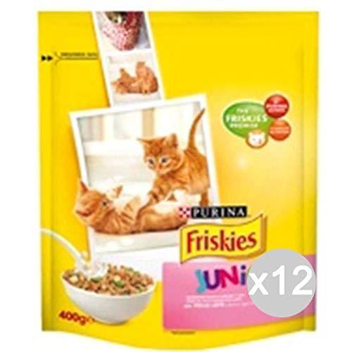 Friskies Juego 12 Gato Croccantini 375Junior Pollo-Latte Comida para Gatos