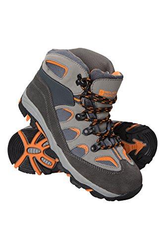 Mountain Warehouse Oscar Kinder-Wanderschuhe - Strapazfähige Wanderstiefel, atmungsaktive Mädchen- & Jungenschuhe, Wildleder- Für Zelten & Trekking Kohle Kinder-Schuhgröße 37 DE