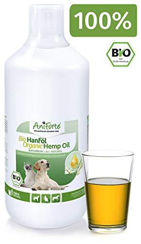 AniForte kaltgepresstes Bio Hanföl 1 Liter - Naturprodukt für Hunde, Katzen und Pferde, 100% rein, Ohne Zusätze, Ideale Barf Ergänzung