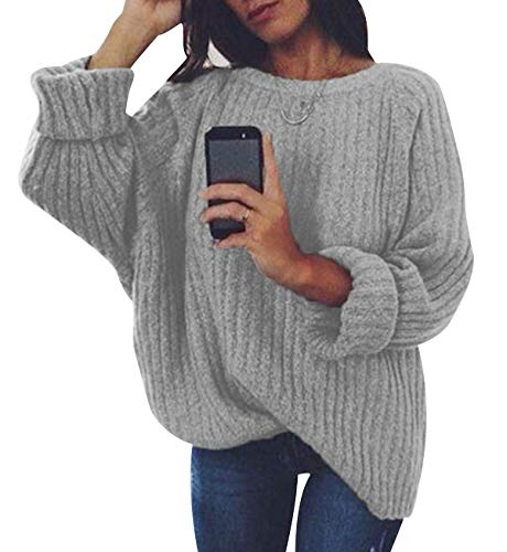 Jersey Punto Mujer Sueter Manga Larga Jerseys Grueso De Señora Oversize Jerséis Largo Jerseis Cuello Redondo Chica Sweaters De Mujer Suéter Pullover Tejido Grueso Anchos Amplio Invierno Gris Claro S