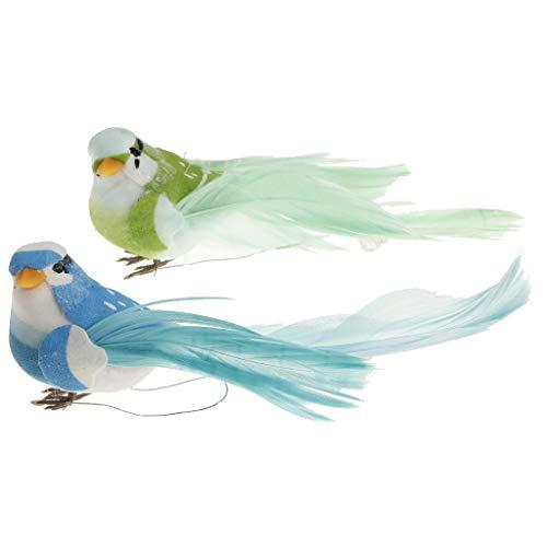 Baoblaze Pájaro Artificial Falso Del Arte Del Pájaro de La Pluma de La Espuma de 2Pcs para El Hogar - 2, tal como se describe