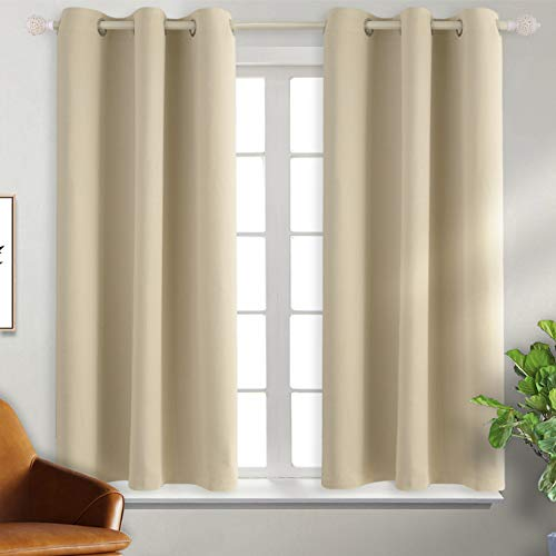 BGment Blackout Curtains - Grommet Thermal Insulated Room Darkening Bedroom and Living Room Curtain, Set of 2 Panels (38 x 45 Inch, Beige)