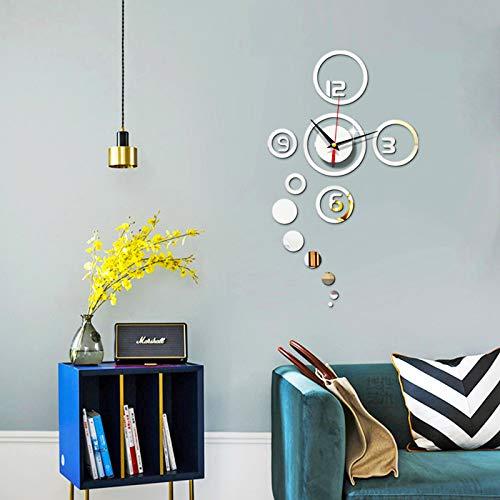 Pegatina de pared de espejo de reloj de círculo, patrón de reloj personalizado, decoración de moda reloj de fondo espejo de pared (elegante decoración del hogar colgando)