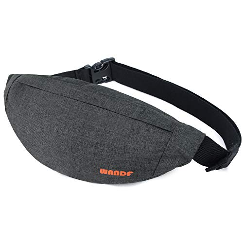 WANDF Bauchtasche Gürteltasche für Damen und Herren Einstellbare Bum Hüfte Hüfttasche für Sport Laufen Joggen Wandern (Dunkelgrau)
