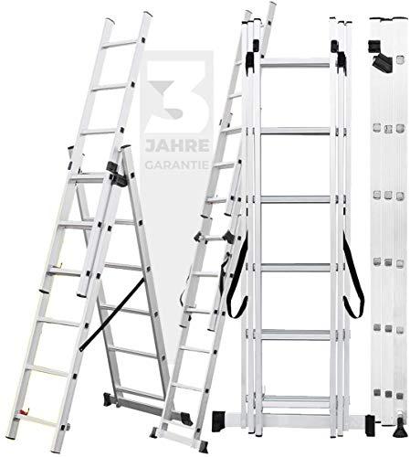 𝐂𝐑𝐀𝐅𝐓𝐅𝐔𝐋𝐋 Aluminium Leiter Teleskopleiter Klappleiter CF-106A - 𝟑 𝐉𝐀𝐇𝐑𝐄 𝐆𝐀𝐑𝐀𝐍𝐓𝐈𝐄 - Stehleiter - Multifunktionsleiter (10 Meter (3x14 Sprossen))