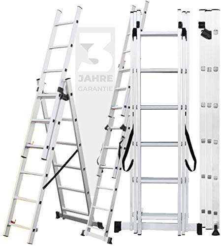 Craftfull Aluminium Leiter Teleskopleiter Klappleiter CF-106A - 3 Jahre Garantie - 6 Größen 3x6/3x7/3x9/3x11/3x12/3x14 - Stehleiter - Multifunktionsleiter (10 Meter (3x14 Sprossen))