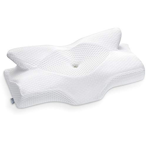 Elviros Cervical Memory Foam Pillow, Contour Pillows for Neck and Shoulder Pain, Ergonomic Orthopedic Sleeping Neck Contoured Support Pillow for Side Sleepers, Back and Stomach Sleepers (White)