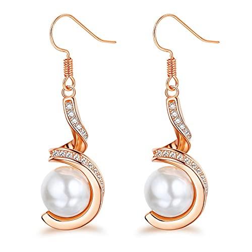 JeweBella Pendientes de perlas de plata de ley 925 con circonita cúbica y oro rosa y plata para mujeres y niñas, Plata de ley,