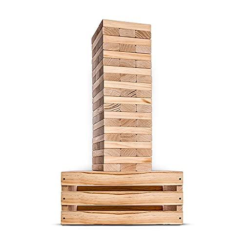 Splinter Woodworking Co. Giant Tower Game | 60 Large Blocks | Storage...