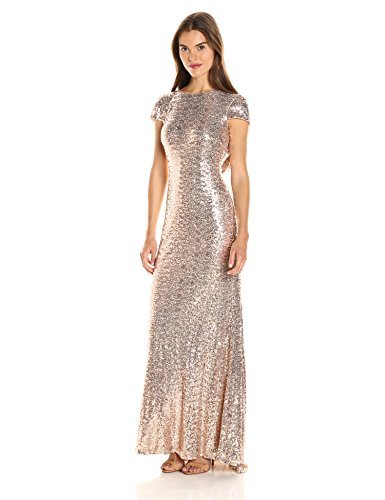 Badgley Mischka Women's Cowl Back Sequin Classic Gown, 10 - Blush (Apparel)