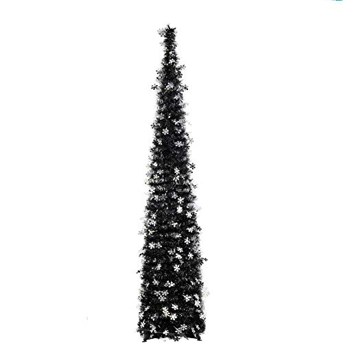 Fonder Mols 5ft Artifitial Black Christmas Tree Collapsible, Pop Up Black Tinsel Coastal Halloween Christmas Snowflake Tree for Holiday Frozen Party Decorations