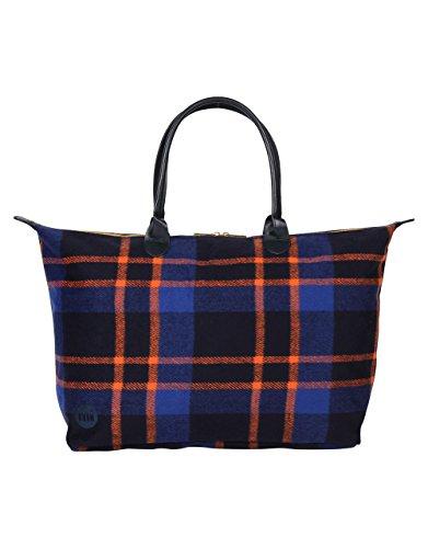 Mi-Pac Picnic Check Weekender Bag - Navy/Orange, One Size