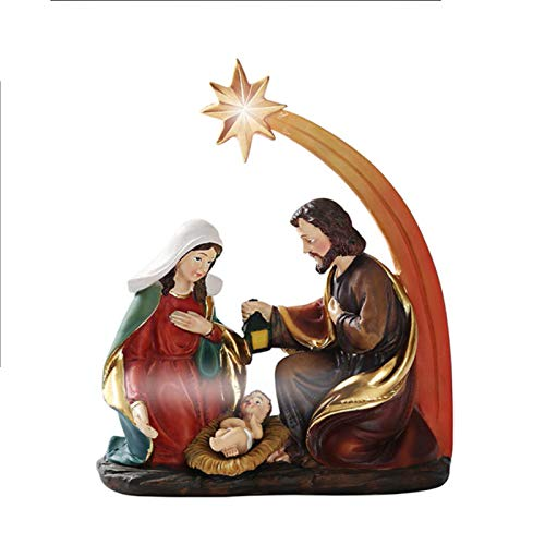 CawBing Nativity Set, Hand-Paint Nativity Scene Set for Churches and Schools, Resin Decorative Nativity Figures Sculpture Nativity Story Decoration Home Decor Xmas Tree Ornaments
