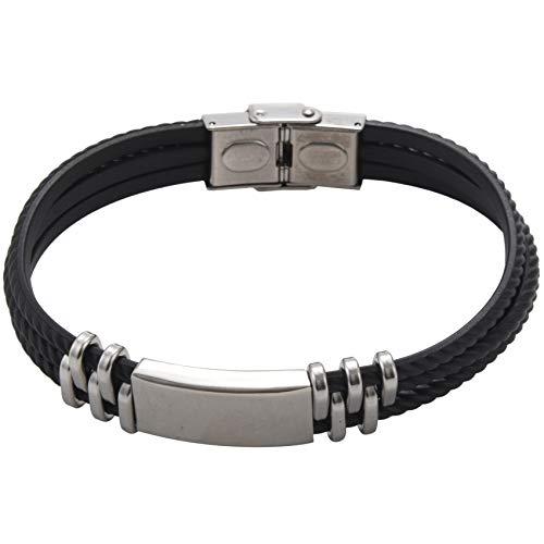 Fransande Tres capas de silicona envoltura pulseras de diseño simple acero hombres accesorios de joyería