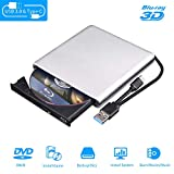 External Blu Ray DVD Drive 3D, USB 3.0 and Type-C Bluray CD DVD Reader Slim Optical Portable Blu-ray Drive for MacBook OS Windows xp/7/8/10, Linux, Laptop PC (Silver-Grey)