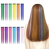 Extension Clip Capelli Colorati 24 Pezzi 12 Colori Ciocche Colorate per Capelli Clip In Hair Extensions per Donne Ragazze 53cm