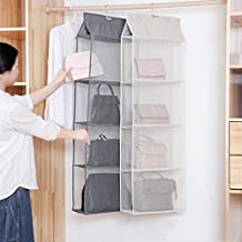4 Pocket Hanging Handbag Organizer for Wardrobe Closet Transparent Storage Bag Door Wall Clear Sundry Shoe Bag with Hanger...