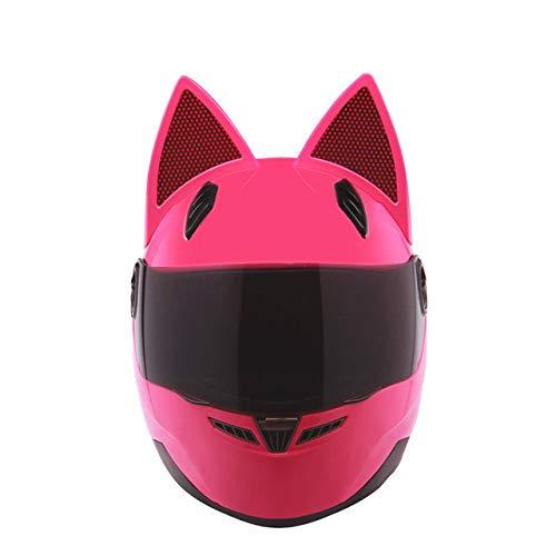 MYSdd Motorradhelm Damen Motorradhelm Persönlichkeit Design Integral Motorradhelm leicht und schlagfest - Pink XL