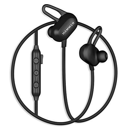 HAMMER Swing Wireless Sweatproof Bluetooth Earphones with Built-in HD Mic & 8 Hours Playtime (Black)