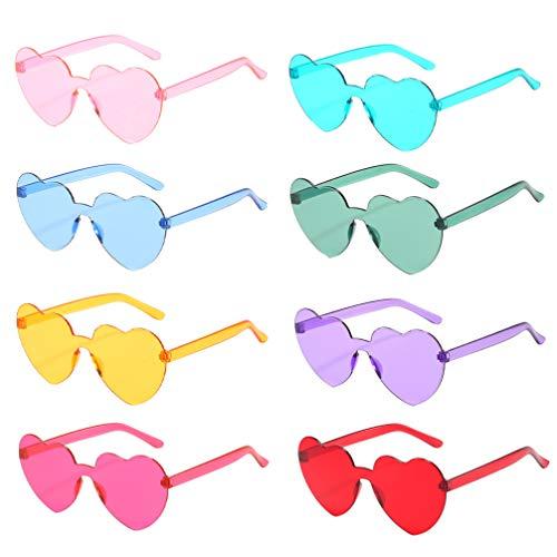 TOYANDONA - 8 pares de gafas de sol sin montura transparente, color de azúcar sin marco, gafas para San Valentín, verano, fiesta, color de
