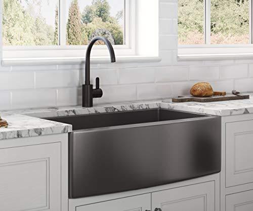 Ruvati Gunmetal Black Matte Stainless Steel 33-inch Kitchen Sink RVH9733BL