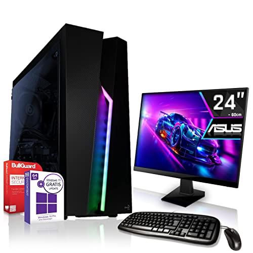 AMD Ryzen 5 3350GE 4x3.9GHz Komplett PC-Paket Set mit 24 TFT - Monitor/Tastatur Maus | 16GB DDR4 |256GB M2 SSD und 1TB Festplatte | Win10 | WLAN | Gamer pc Computer komplettpaket Rechner Leise