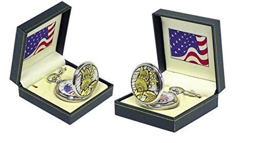 Runde Statue of Liberty Taschenuhr in Geschenkbox Amerika Freiheitsstatue Uhr