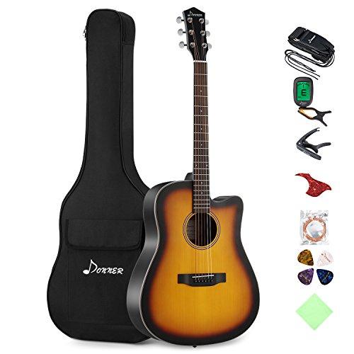Donner Akustikgitarre Set 41 Zoll Cutway Gitarre Anfänger mit Gigbag Capo Tuner Plektren Gurt Saiten (Sunburst, DAG-1CS)