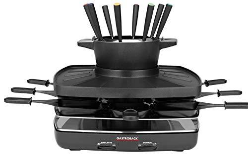 GASTROBACK 42567 Raclette fondue set family and friends, für 8 Personen mit großer gerippter Grillplatte, antihaftbeschichtet, abnehmbar und spülmaschinengeeignet, 1200, schwarz, silber