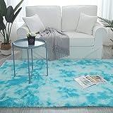 YIFANDU Alfombra Salon 120x200cm Antideslizante Muy Suave Alfombra Mullida Lavable fácil Mantenimiento para Comedor, Dormitorio, Pasillo y Habitación Juvenil, Azul