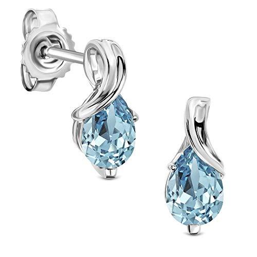 Miore Ohrringe Damen tropfen Ohrhänger mit Edelstein/Geburtsstein Topas in blau aus Weißgold 9 Karat / 375 Gold, Ohrschmuck