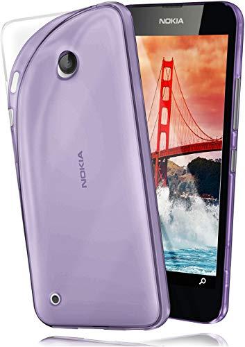moex Aero Hülle kompatibel mit Nokia Lumia 530 - Hülle aus Silikon, komplett transparent, Klarsicht Handy Schutzhülle Ultra dünn, Handyhülle durchsichtig einfarbig, Lila