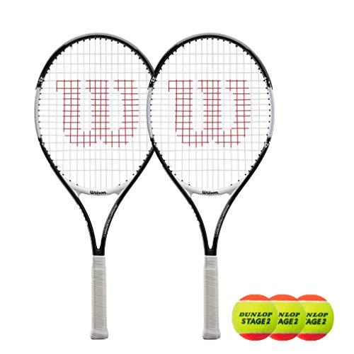 Wilson Federer Junior - Raqueta de tenis (2 unidades, 19 pulgadas, 21 pulgadas, 23 pulgadas, 25 pulgadas y 26 pulgadas) (modelo 2020, 25 pulgadas y 2 pelotas)