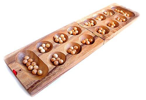 Logica Spiele Art. Kalaha - Mancala - Brettspiel aus Edlem Holz - Strategiespiel für 2 Spieler - Reiseversion