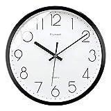 Plumeet Reloj de Pared Silencioso, Reloj de Cuarzo sin Tic-TAC con Batería de 30cm, Diseño Moderno Apto para Decorar Hogar Oficina Escuela, Negro