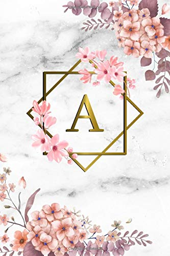 Price comparison product image A: Cute Initial Monogram Letter A College Ruled Notebook. Pretty Personalized Medium Lined Journal & Diary for Writing & Note Taking for Girls and Women - Grey Marble & Gold Pink Floral Print