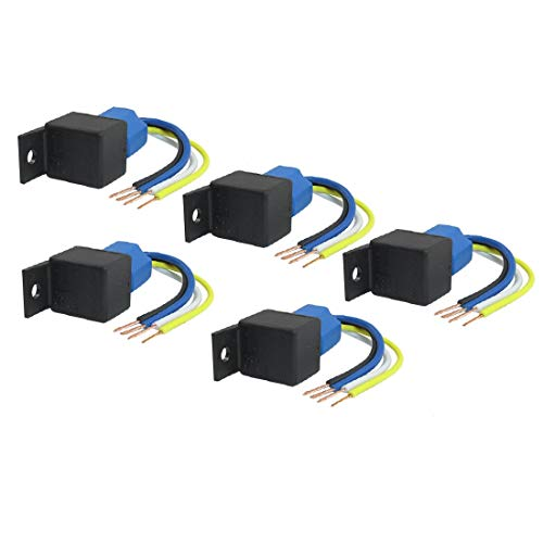 New Lon0167 5 Unids Destacados Alarma de Coche eficacia confiable SPST Relé Caremic Socket 4 Pin 4 Cables Cable 40A 12V DC JD2912(id:109 62 12 ff1)