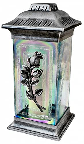 Importer AM 3D Rose Cemetery Memorial Candle | Gravesite Remembrance Decoration | Glass Lantern European Style Candle Holder | Home & Garden Decor, Outdoor and Indoor Use (Rose, Silver)