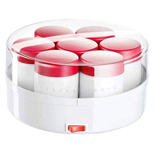 NXYJD Automático de la máquina Fabricante de Yogur Griego Glass 7 tarros Lista for su Uso yogurtera eléctrica, Caja de Cristal frascos y Tapas