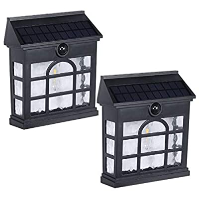 Westinghouse Wireless Linkable Intelligent Solar Motion Sensor Lights Outdoor,LED Light 1200 Lumens Retro Design Security Wall Lights for Front Door,Yard,Patio Driveway Garage Porch Pathway (2 Pack)