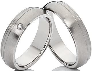 alianza de amistad anillo boda 2 anillos compromiso Wolfram plateados /& grabado láser
