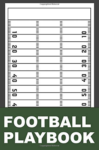 Football playbook: notebook with football field diagrams and notes